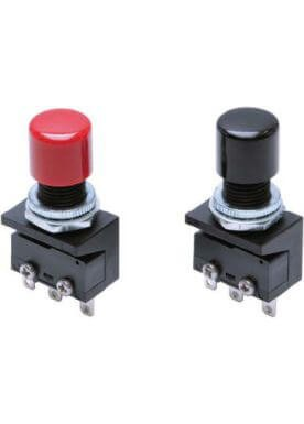 Pushbutton, Miniature, Black, SPDT